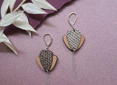 Bijoux - Pendantes MAGNOLIA en bois et cuir - NI UNE NI DEUX BIJOUX