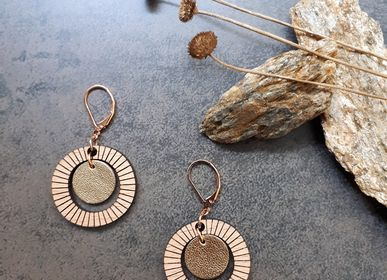 Jewelry - Bulle earrings in wood and recycled leather - NI UNE NI DEUX BIJOUX