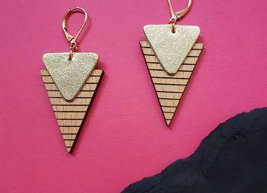Jewelry - Earrings Marinière in leather wood - NI UNE NI DEUX BIJOUX