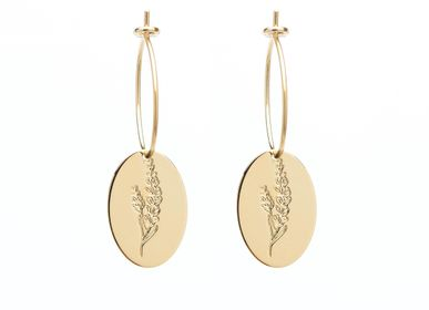 Jewelry - Petite hoop earrings Lavender medals herbarium - JOUR DE MISTRAL