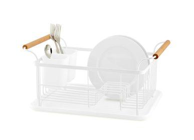 Egouttoirs - Égouttoir à vaisselle en métal blanc et bois CC70032  - ANDREA HOUSE