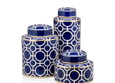 Desks - Thaniya Set of Ginger Jars Handpaint Ceramic - THANIYA
