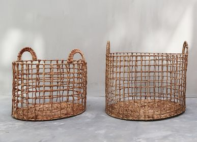 Decorative objects - Dried Hyacinth Wicker Laundry Basket Set 1 - NYAMAN GALLERY BALI