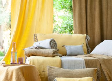 Throw blankets - WAVY Stoned Cotton sofa cover - EN FIL D'INDIENNE...