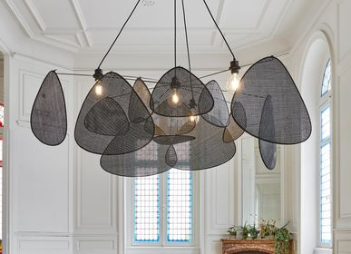 Hanging lights - 4-light SCREEN black Canework pendant light - MARKET SET
