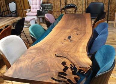 Tables - black walnut green epoxy table - DESIGNTRADE