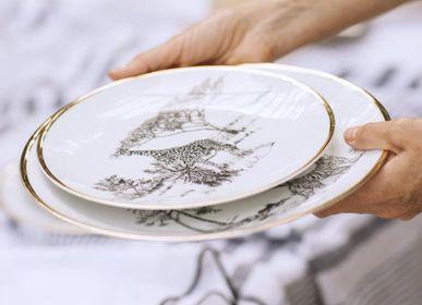 Assiettes de réception - Large plate - Limoges porcelain - Animals design - LO DE MANUELA