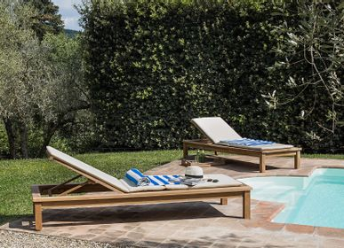 Outdoor fabrics - Sunlounger with wheels Saint Raphael - STRA0511 - IL GIARDINO DI LEGNO