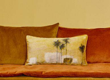 Fabric cushions - CAMIONN VERDE PRINTED VELVET CUSHION - MAISON LEVY