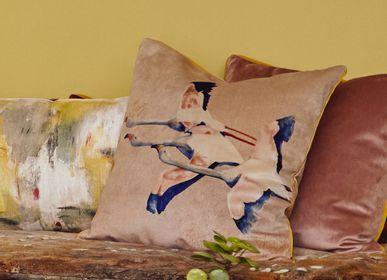 Fabric cushions - FLAMINGO ROSE PRINTED VELVET CUSHION - MAISON LEVY
