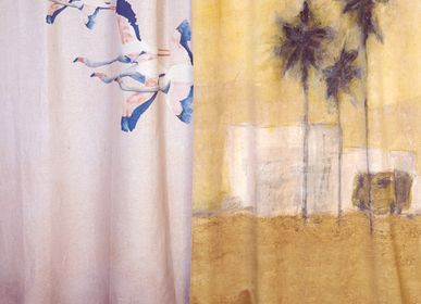 Curtains and window coverings - FLAMINGOS PRINTED LINEN CURTAIN - MAISON LEVY