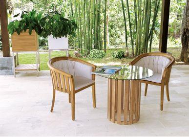 Lawn tables - GEORGETOWN - Glass top round single leg dining table Washingthon  - IL GIARDINO DI LEGNO