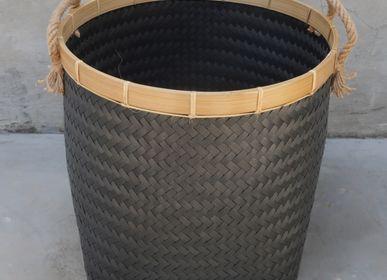 Laundry basket - Classic Black Wicker Laundry Basket - Set of 3 - NYAMAN GALLERY BALI