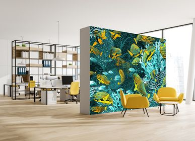 "Other wall decoration - Wallpaper ""La Danse"" 263 x 450 cm - BLUE & YELLOW - Infinitely connected horizontally and/or vertically - Maison Fétiche - MAISON FÉTICHE"