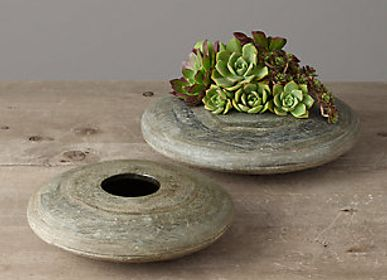 Garden accessories - Natural Slate Stone Tabletop Planter - VEN AESTHETIC CREATIONS