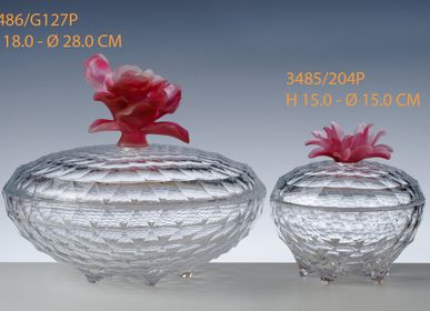 Crystalware - CANDY BOX CASCADE WITH MOLTEN GLASS LID - CRISTAL DE PARIS