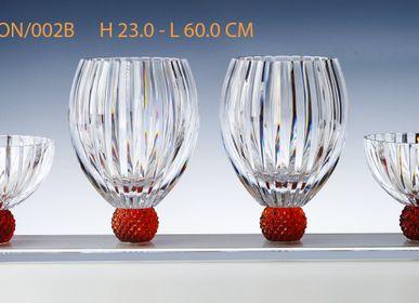 Cristallerie - SUPPORT AVEC 2 VASES  + 2 COUPELLES | H 23.0 | L 60.0 CM - CRISTAL DE PARIS