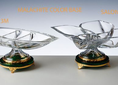 Crystalware - RAVIERS WITH MALACHITE BASE - CRISTAL DE PARIS