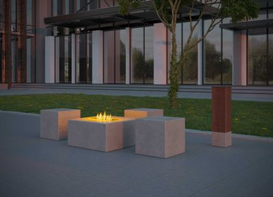 Tables for hotels - TABULA QUADRA IGNIS Concrete Lounge Table with or without Ethanol Fireplace - CO33 EXKLUSIVE BETONMÖBEL