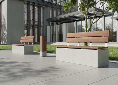 Banquettes pour collectivités - ANGULUS SEDES TRUNCUS Banc de jardin en béton avec revêtement / dossier en bois en option - CO33 EXKLUSIVE BETONMÖBEL