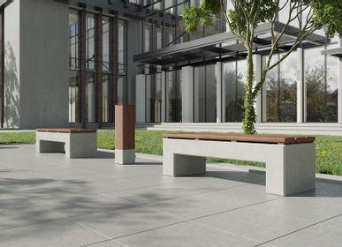 Banquettes pour collectivités - ANGULUS SEDES PONTIS Banc de jardin en béton, En forme de U avec revêtement / dossier en bois en option - CO33 EXKLUSIVE BETONMÖBEL