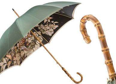 Shelves - LEOPARD UMBRELLA WITH WONDERFUL INTERIOR AND BAMBOO HANDLE, DOUBLE CLOTH - PASOTTI