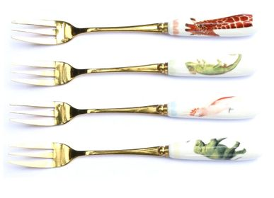 Silverware - Set of 4 dessert forks Animals - YVONNE ELLEN