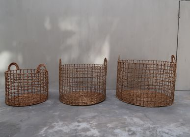 Laundry basket - Dried Hyacinth Wicker Laundry Basket Set 2 - NYAMAN GALLERY BALI