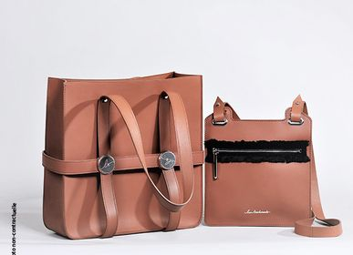 Bags / totes - Leather tote bag with removable mini pouch - L'ATELIER DES CREATEURS