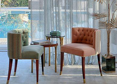 Chaises - BOURBON Fauteuil de salle à manger classique Bleu - Couleur Pantone de l'année 2020 - BRABBU DESIGN FORCES