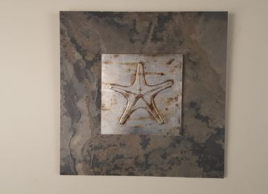 Décoration murale - Nature Inspired & Sustainable Wall Artworks. Subject: Hand Painted Star Fishes  - VEN AESTHETIC CREATIONS
