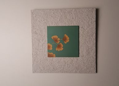 Hotel rooms - Environment Friendly & Nature Inspired Wall Artworks. Subject: Hand Painted Ginkgo Biloba Leaves - VEN AESTHETIC CREATIONS