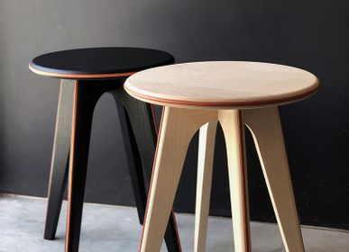 Design objects - Stool / side table ASSY - black stained ashwood and orange leather - MADEMOISELLE JO