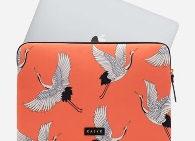 Leather goods - Laptop sleeve iPad: Coral Cranes - CASYX