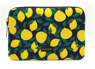 Office set - Laptop sleeve Macbook iPad : Midnight Lemons  - CASYX