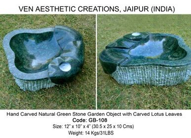 Sculpture - Multi Purpose Natural Green Stone Bowl (Hand Carved) for Interiors & Outdoors  - VEN AESTHETIC CREATIONS