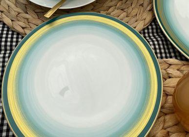 Assiettes au quotidien - Ensemble de quatre assiettes plates Azur - GARANCE CRÉATIONS