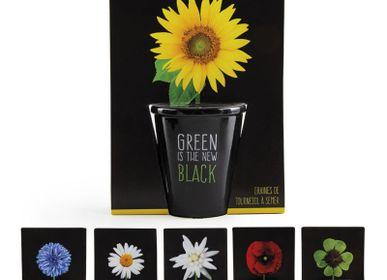 Accessoires de jardinage - Collection Pots black avec graines à semer  - RADIS ET CAPUCINE
