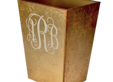 Waste baskets - Monogram gold wastebasket - MIKE + ALLY