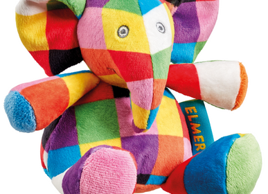 Soft toy - Elmer plush rattle - PETIT POUCE FACTORY
