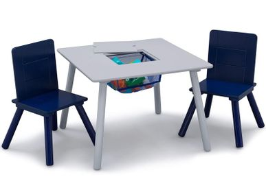 Tables and chairs for children - Table with storage and two chairs - PETIT POUCE FACTORY