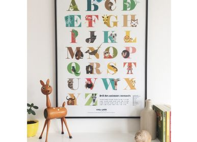 Children's bedrooms - A to Z of endangered animals poster - COQ EN PATE