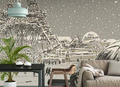 Papiers peints - Panneau La Tour Eiffel en construction - ETOFFE.COM