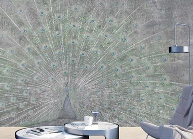 Wallpaper - Paon Roue Argent Panel - ETOFFE.COM
