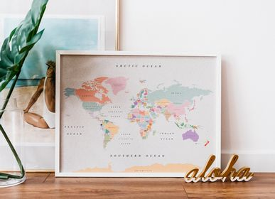 Other wall decoration - Woody Map Watercolor - Digital printed cork maps - MISS WOOD