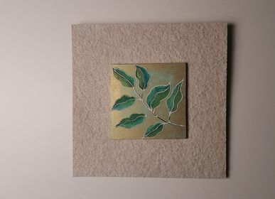 Hotel rooms - Earthen & Nature Inspired Wall Artworks. Subject: Hand Painted Leaves - VEN AESTHETIC CREATIONS