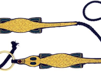 Apparel - Hand Embroidered Belt - Crocodile - MACON & LESQUOY