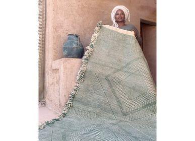 Autres tapis - Tapis marocain Kilim - Motifs Diamants Flatweave Vert - TASHKA RUGS