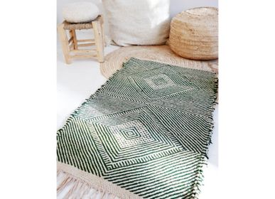 Bespoke - Moroccan Small Kilim Rug - Diamonds Pattern Flatweave Green - TASHKA RUGS