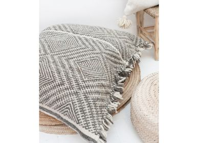 Cushions - Giant Moroccan Kilim Wool Floor Cushion - Shadoui Grey - TASHKA RUGS